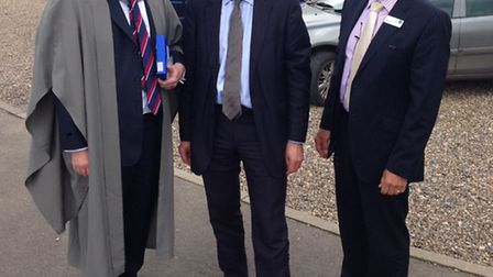 Wymondham College speech day - Melvyn Roffe, Norman Lamb and Peter Rout.