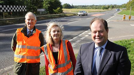 Henry Bellingham MP, Liz Truss MP and Roads Minister Stephen Hammond next to the Castle Acre junctio