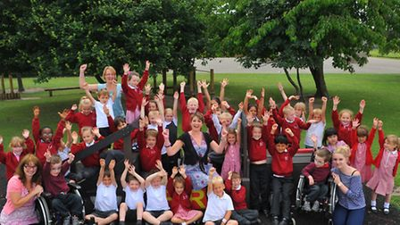 Cecil Gowing Infant School pupils, staff and headteacher Isabel Stubbs happy at retaining their good