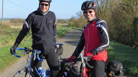 Julian Clarke (left) and Tom Butler get on their bikes for charity. Picture: SUBMITTED.