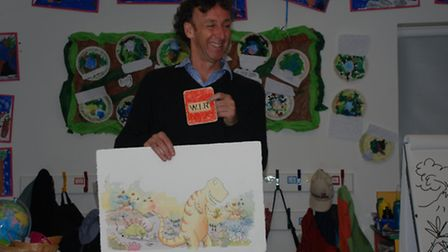 Children's author and illustrator Simon James visits Morley C of E Primary School, based in Morley S