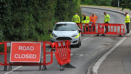Hellesdon Road closed after flood damage disturbed the road surface. Photo: Bill Smith