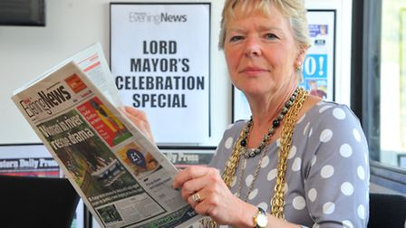 Evening News editor for the day Lord mayor of Norwich, Judith Lubbock. Photo: Steve Adams
