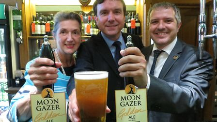 Dawn Leeder, Andrew Griffiths MP and Phil Cutter celebrating the City of Ale at Westminster.