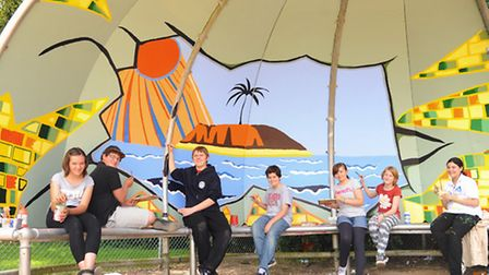 Thorpe St Andrew School students decorate the youth shelter at Dussindale Park. From left, Hannah Ha