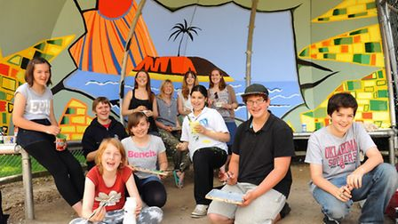 Thorpe St Andrew School students decorate the youth shelter at Dussindale Park. Front row from left,