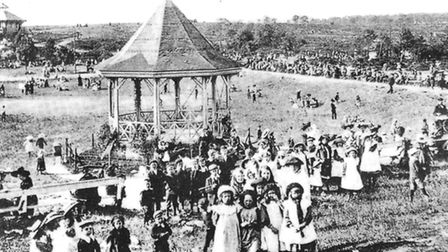 The original Mousehold bandstand a hundred years ago.