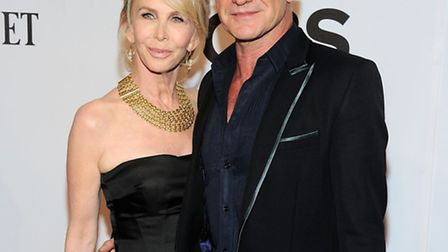 Trudie Styler, left, and Sting arrive at the 68th annual Tony Awards at Radio City Music Hall on Sun