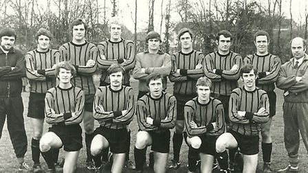 Derek Turner (centre front) with his match-winning outfit of 1970-71. On his left are prolific goal-