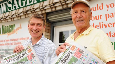 Newsagent for 25 years, Ian Moncur, and his father, Derek, who was a newsagent for 30 years before h