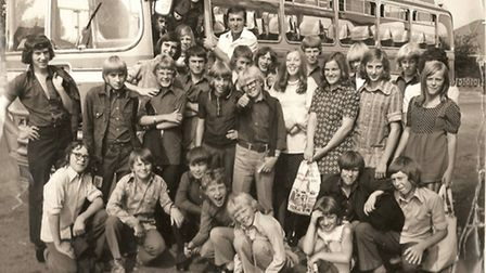 Paperboys and girls on a trip to Great Yarmouth organised by Derek Moncur (top middle) as a thank yo