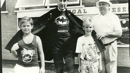 """Les King with John """"Batman"""" Speakman, the local P.C. on the beat, and two young Regal supporters."""