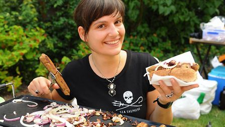 Jo Watmore, vegan cook, with her vegan sausages at the Veggie Fayre. Picture: DENISE BRADLEY