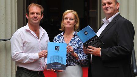 Getting behind Norwich Stories, left to right Nick Bond from Visit Norwich, Jayne Raffles of the Lib