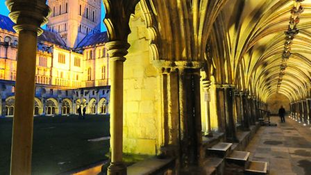 The new lighting at the Norwich Cathedral Cloisters, enhancing the historic architecture. Picture: D