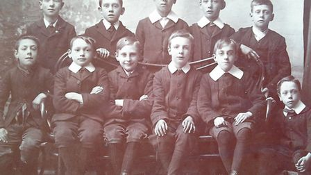 Young Archie Gowing, second left at the back, with friends, perhaps from the church or from school a