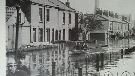 A scene from the Norwich floods of 1912.