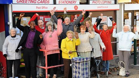 Residents and campaigners celebrate as the Vauxhall Street Post Office will not be closed. Picture: