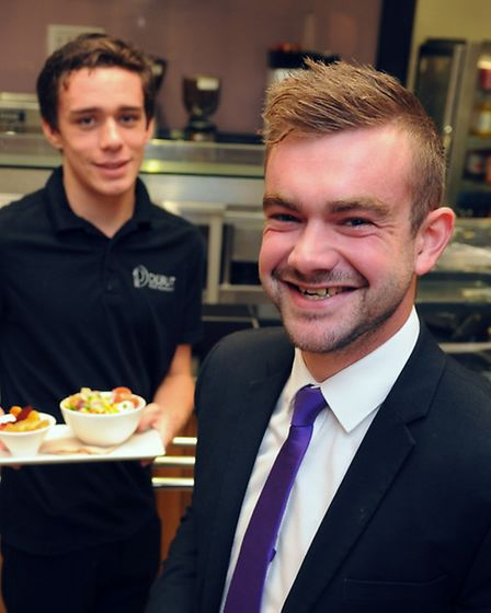 City College Norwich student, Sam Brown, 23, right, who has helped organise over a 1000 hours paid w
