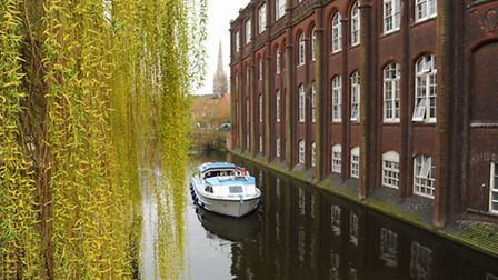 The City of Norwich viewed from the River Wensum. The NUA building at St George's Bridge. Picture: D