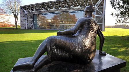 Henry Moore's 'Draped Reclining Woman' of 1957 overlooks the west end of Sir Norman Foster's iconic