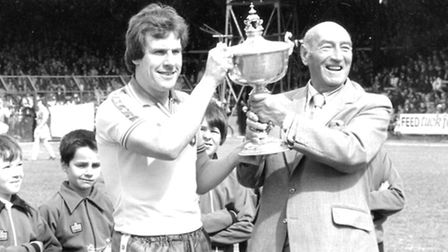 Joe Royle and Geoffrey Watling at Carrow Road, Norwich, May 2 1981. Norwich played Leicester on this