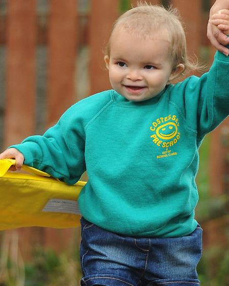 Two-year-old Emily Norris, excitedly making her way to Costessey Preschool. Picture: DENISE BRADLEY