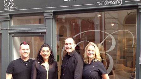 Brian Coombes Hairdressers, who are offering free hair cuts in return for a charity donation. L to R