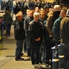 Last year's festival - The 36th Norwich Beer Festival opens at St Andrews Hall where large queues bu