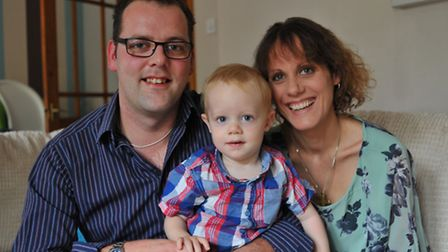 Darren Lake with Kathryn and their son Edward. Photo: Bill Smith