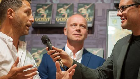 Jeremy Goss with Chris Goreham and Darren Eadie at the launch of his book 'Gossy' at Jarrolds on Sat