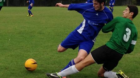 Action from Watton United's 2-0 win at Horsford United Reserves in Division Four of the Almary Green