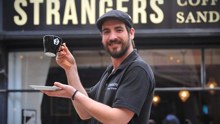 Library picture of Alex Sergeant barista at Strangers cafe, Pottergate who came fifth in the UK latt