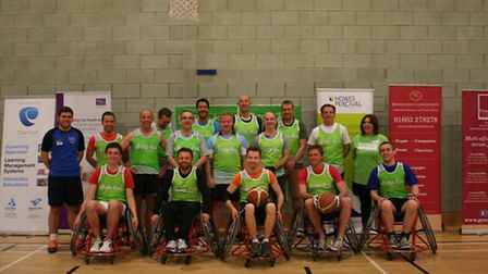 The team of Norwich businesses taking on the Norwich Lowriders wheelchair basketball team for Whizz-