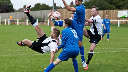 Action from Swaffham Town's 5-2 home win against Team Bury in the Thurlow Nunn First Division at Sho