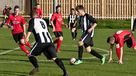 Action from Swaffham Town Reserves' 3-0 defeat to Long Stratton Reserves in the Norfolk Junior Cup,