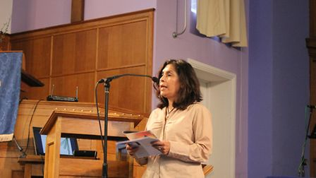 Elizabeth Peredo speaking at the Christian Aid Hunger for Justice event.