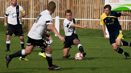 Swaffham Town Aaron Porter in the middle of activities. Picture by Eddie Deane