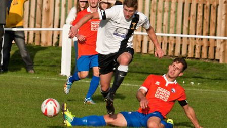 Action from Swaffham Town's 5-2 win against Braintree Town Reserves in the Thurlow Nunn First Divisi