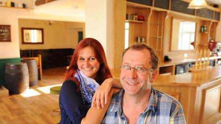 Bob Utting with his partner Hannah Colby at The Leopard pub which is re opening after major refurbis