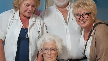Laura Spurling has celebrated her 100th birthday at Witton. Pictured with Lyn and Mike Linley, and V