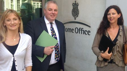 Claire Riseborough (left) with Child Eyes co-founder Kathy McGuinness and MP Richard Bacon.