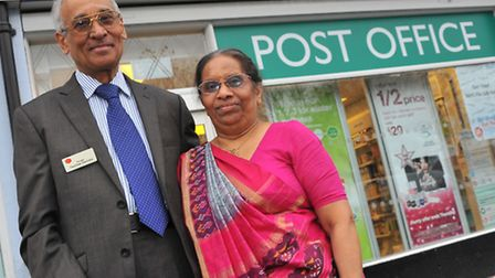 Retiring after 30 years running the Colman Road Post Office, Nachiket and Hasumati Devlukia. Picture