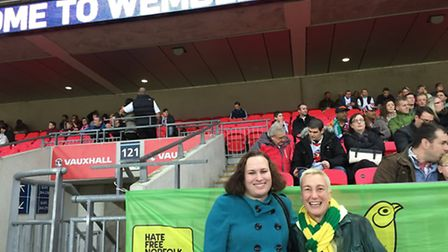 Juliet Jaques and Di Cunningham of the Proud Canaries, displaying their banner at Wembley