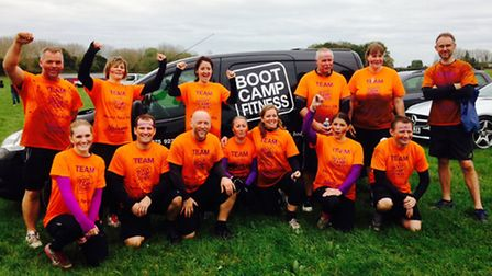 13 of the members of Bootcamp Fitness who took part in the Mucky Race