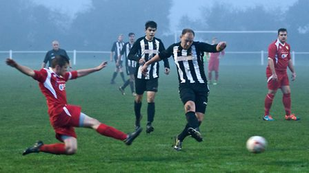 Action from Swaffham Town Reserves' 4-3 win against Hemsby Town at Shoemakers Lane, Jamie Buhlemann