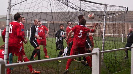 Action from Swaffham Town Reserves' 4-3 win against Hemsby Town at Shoemakers Lane. Picture: Eddie D