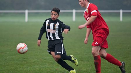 Action from Swaffham Town Reserves' 4-3 win against Hemsby Town at Shoemakers Lane, Ahmed Rhaouti on