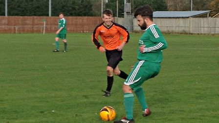 Action from Watton United's 2-0 win against Corton Seltic in the CS Morley Cup.