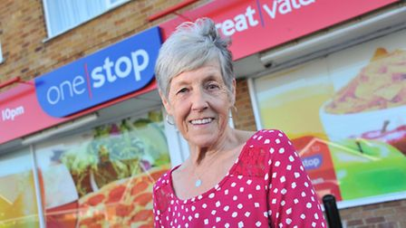 Val Pitcher at the Taverham One Stop where she has worked for 40 years.Picture by SIMON FINLAY.